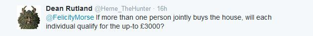 Tweet asking if more than one person wants to buy a house is there a limit of how many Help To Buy ISAs can be used
