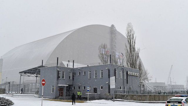 Concrete and steel arch which will cover the destroyed Chernobyl nuclear reactor in Ukraine