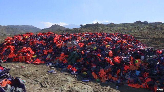 Lifejackets on Greek island of Lesbos