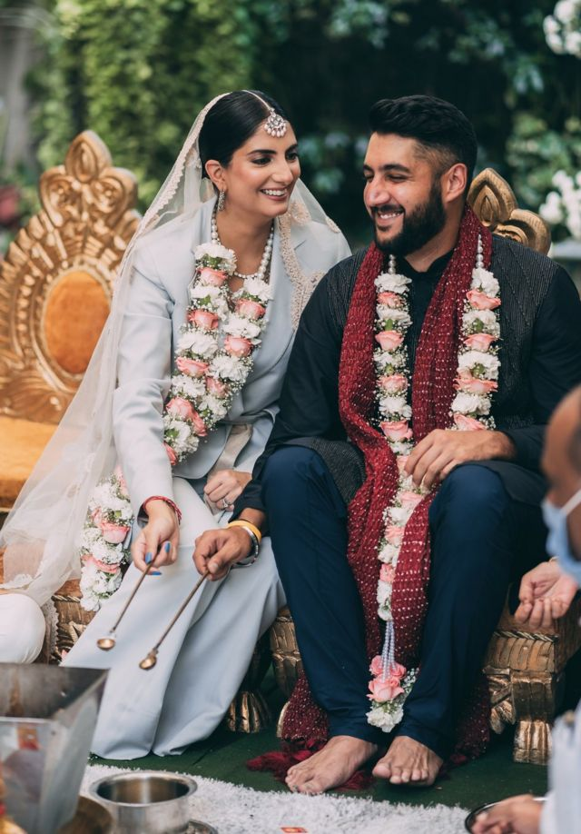 Sanjana Rishi and Dhruv Mahajan at their wedding