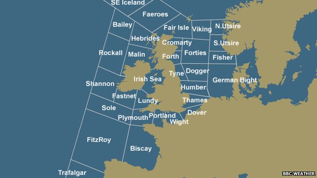 A map of the British Isles with the Shipping Forecast names