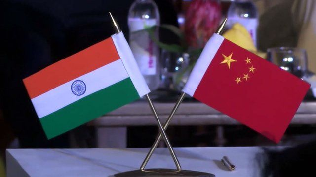 Indian and Chinese flags