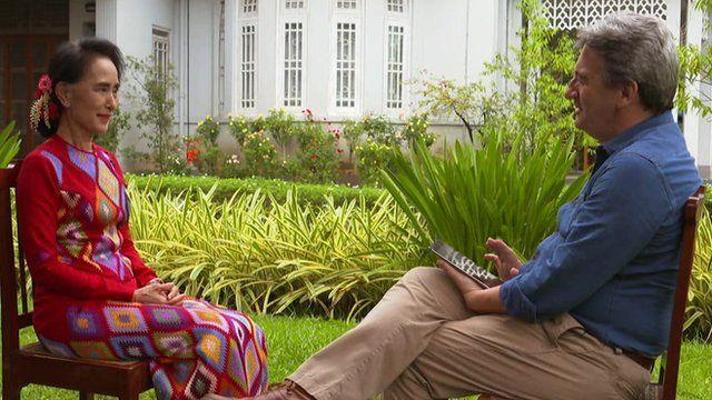 Aung San Suu Kyi and the BBC's Fergal Keane