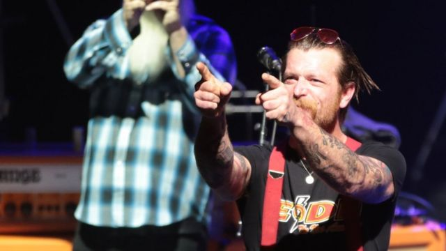 Jesse Hughes, the singer of US rock group Eagles of Death Metal at the Olympia concert hall in Paris, on February 16, 2016.