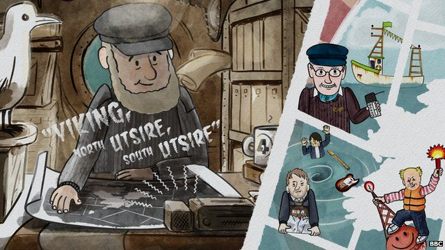 A cartoon of a captain on his ship listening to the shipping forecast