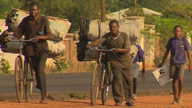Charcoal sellers pushing bicycles