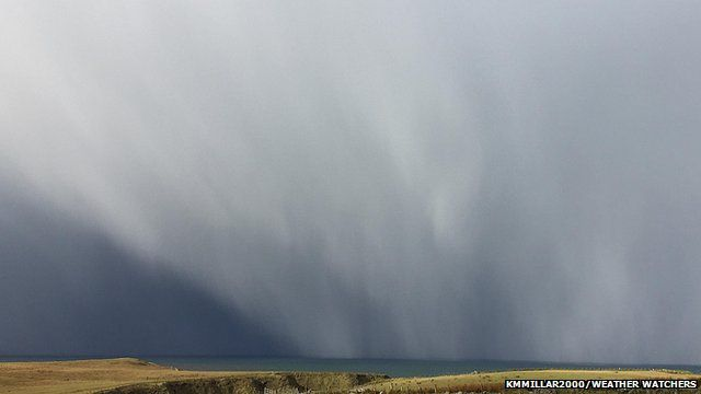 Hail showers over water