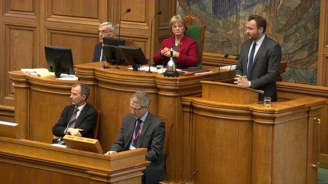 Danish parliament debating legislation