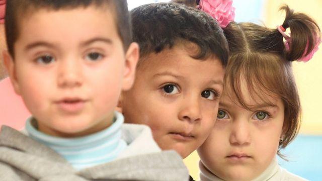 Children at a refugee camp in Hamburg