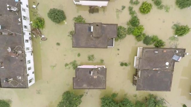 Aerial view of flooding in Nanling, Anhui Province in China