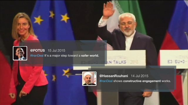 Federica Mogherini (left) and Mohammad Javad Zarif