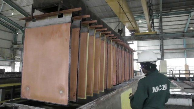 Sheets of copper