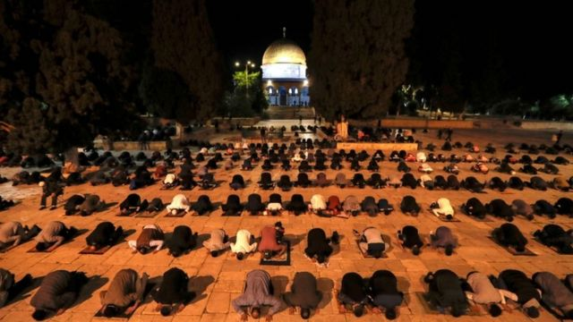 Palestinians perform the dawn prayer inside the Al-Aqsa mosque compound, Islam's third holiest site, in Jerusalem's Old City