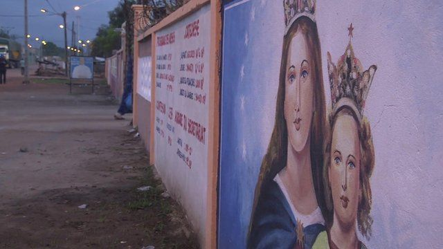 Paintings on the walls of the Duekoue Catholic mission