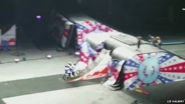 Amateur footage of stunt