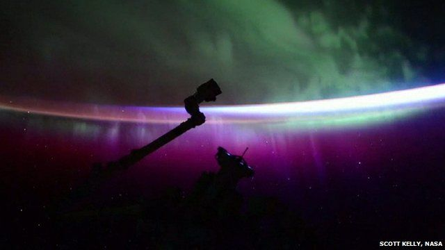 Still from timelapse footage of the Northern Lights