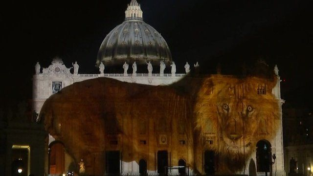 A lion projected on to St Peter's