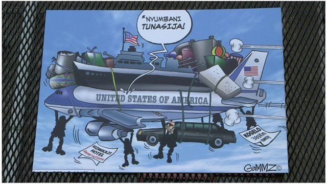 Cartoon of Air Force One going to Kenya
