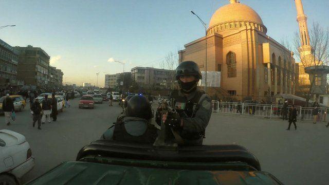Police patrol in the Afghan capital, Kabul
