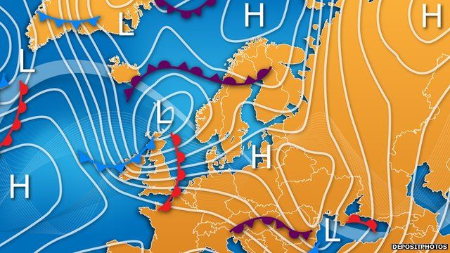 Traditional Weather Map.Article Bbc Weather Watchers