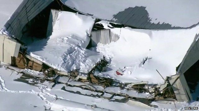 Roofs Collapse Under Weight Of Snow In Us Bbc News