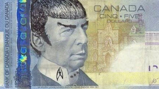Spock's face drawn on a bank note