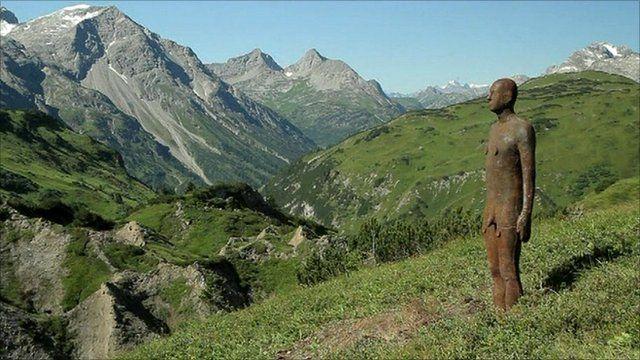One of Antony Gormley's figures in the Austrian Alps