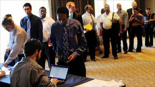 Unemployed Americans attend a National Career Fair