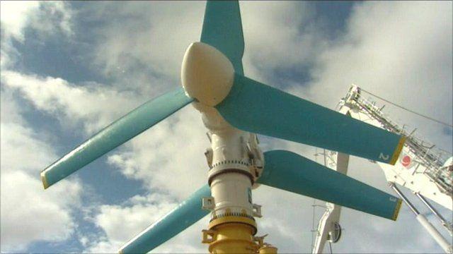 Blades on tidal turbine