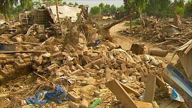 Rubble in Pakistan after floods