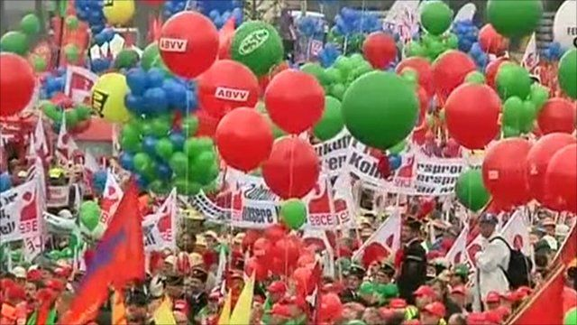Crowds take to the streets in protest at austerity measures