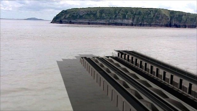 Graphic of Severn estuary barrage tidal energy project