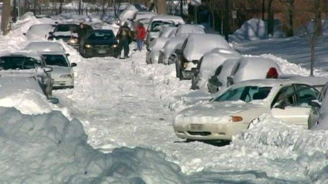 Snowy street in Chicago