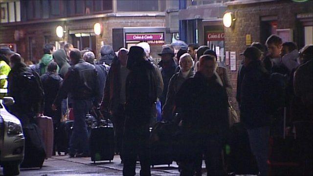 Stranded passengers at Peterborough station