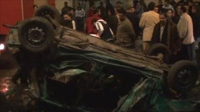 Egypt car bomb wreckage