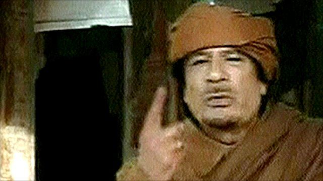 Col Muammar Gaddafi speaking on Libyan TV