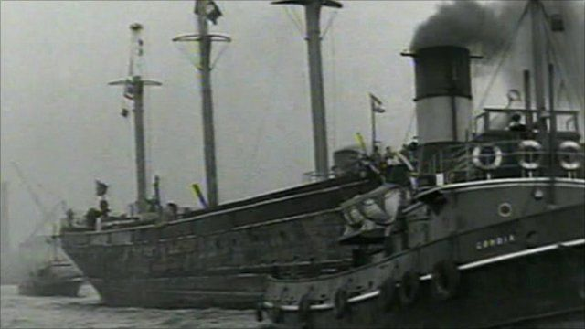 Archive footage of Cutty Sark