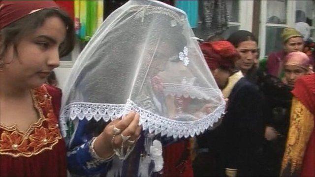 A bride at a wedding in Tajikistan