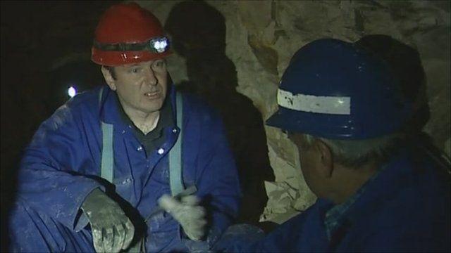 Military historian Simon Jones with Robert Hall in the tunnels under La Boiselles