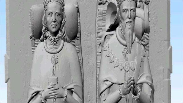 A 3D image of the tomb of Thomas Howard, 3rd Duke of Norfolk, and his wife