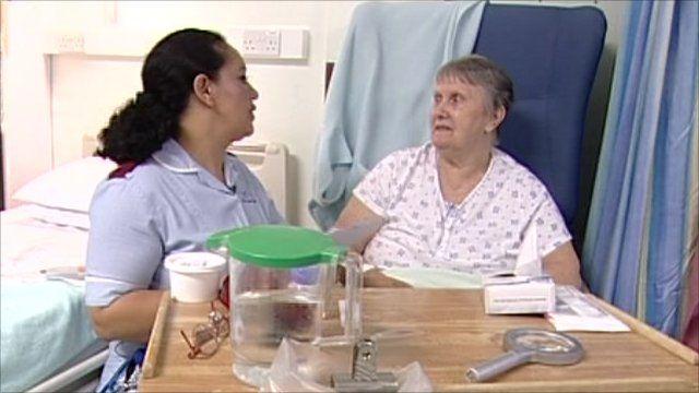 Nurse with hip fracture patient Lois Earl