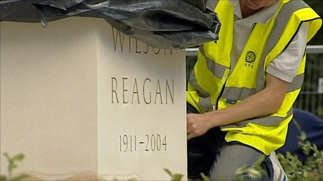 The plinth of the Reagan statue, ahead of the unveiling