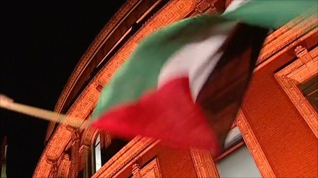 Palestinian flag being waved outside the Royal Albert Hall in London