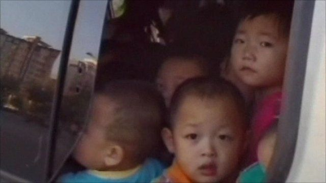 Chinese children packed in a van