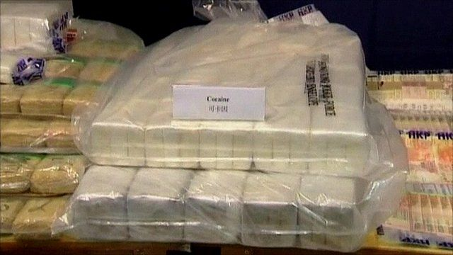 Some of the seized cocaine