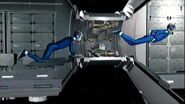 Mock up image of astronauts in space