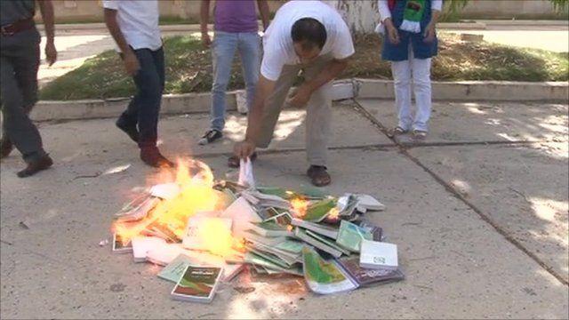 Libyan burn booked used in schools