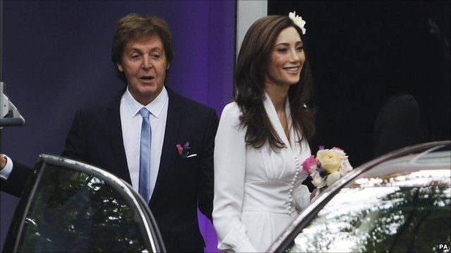 Sir Paul McCartney with Nancy Shevell on the way to their wedding