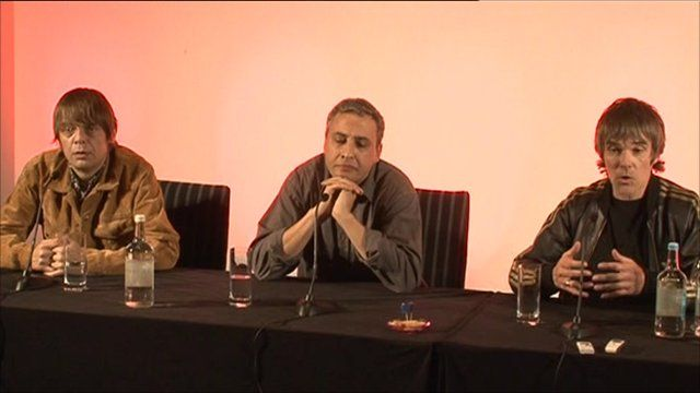 Mani, Reni and Ian Brown at the Stone Roses news conference