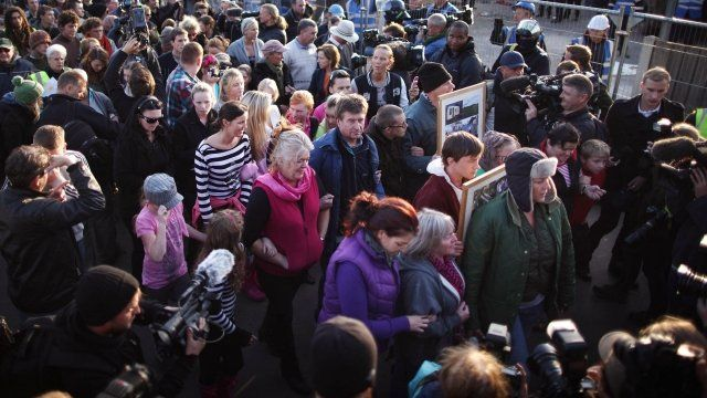 Travellers and protesters staged a mass walkout